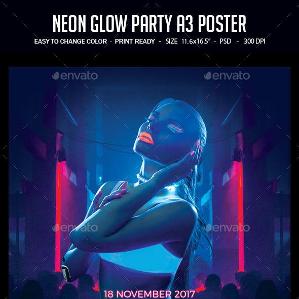 Neon Glow Party A3 Poster