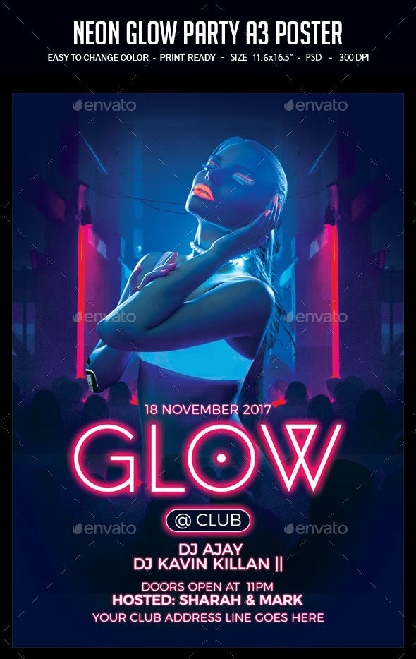 Neon Glow Party A3 Poster - Clubs & Parties Events