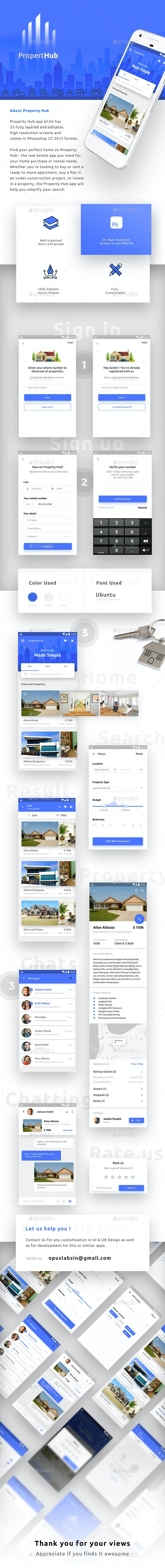 Real Estate App UI Kit for Android & iOS  |  Property Hub - User Interfaces Web Elements