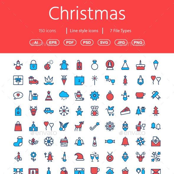 Christmas Flat color icons