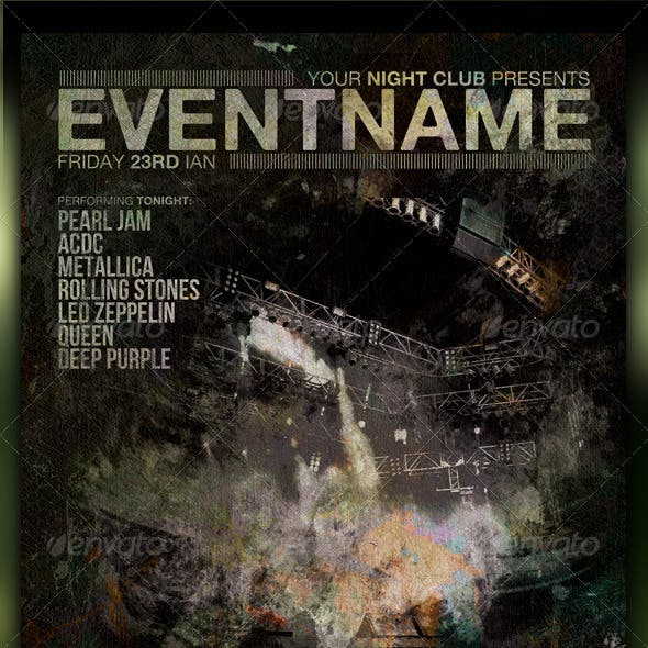 Grunge Night Club Party/Concert Flyer/Poster V3