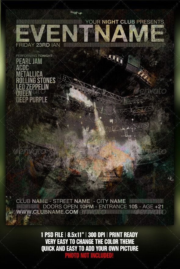 Grunge Night Club Party/Concert Flyer/Poster V3 - Clubs & Parties Events