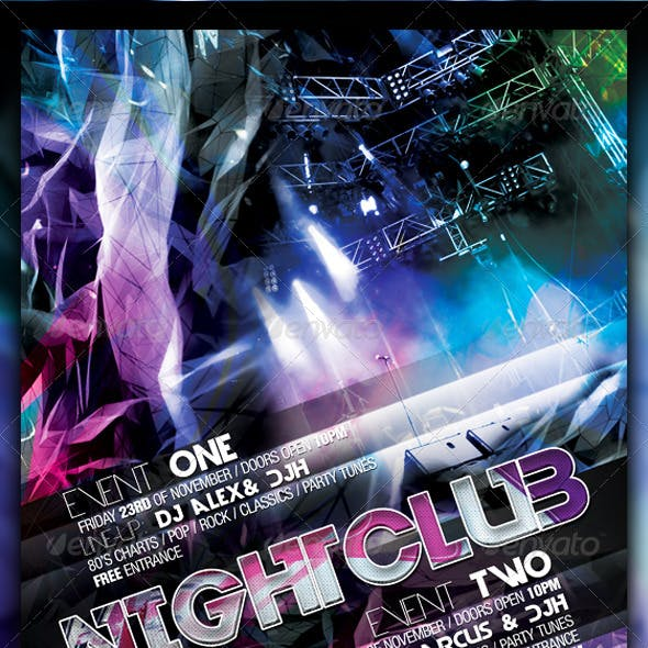 Abstract Night Club Party/Concert Flyer/Poster
