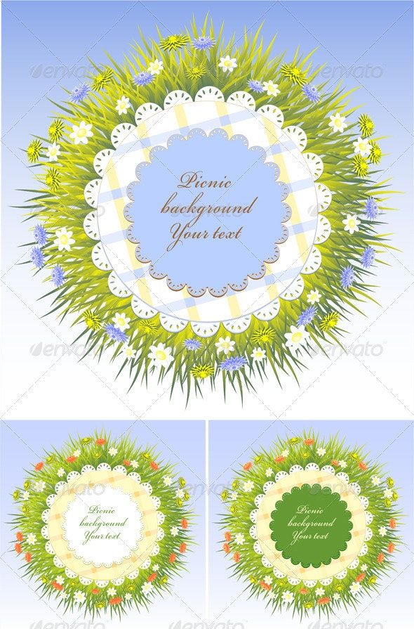 Set Picnic frames with grass and flowers - Borders Decorative