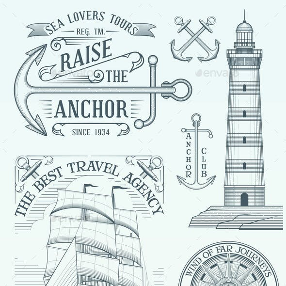 Set of Vintage Nautical Labels and Badges