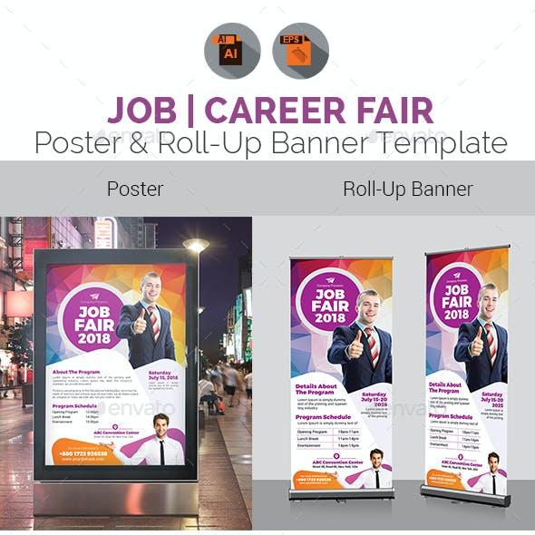Job Fair Poster & Roll-Up Template Bundle