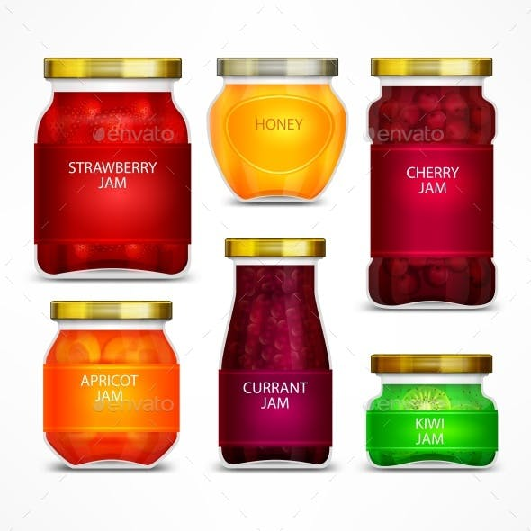 Homemade Fruit Jam Jars with Label