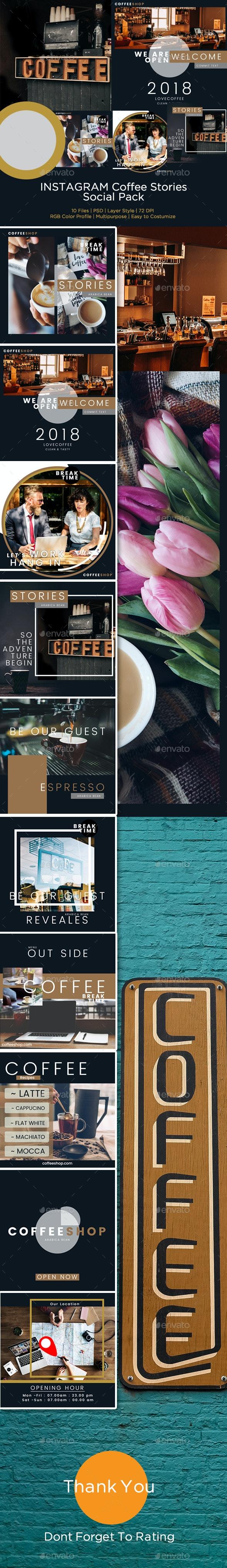 PSD – Instagram Coffee Stories Template - Social Media Web Elements