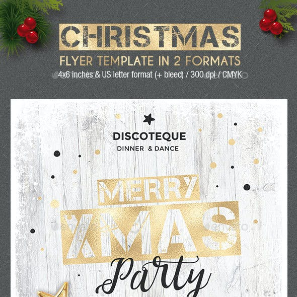 Gold / White Christmas Party Flyer - 2 formats