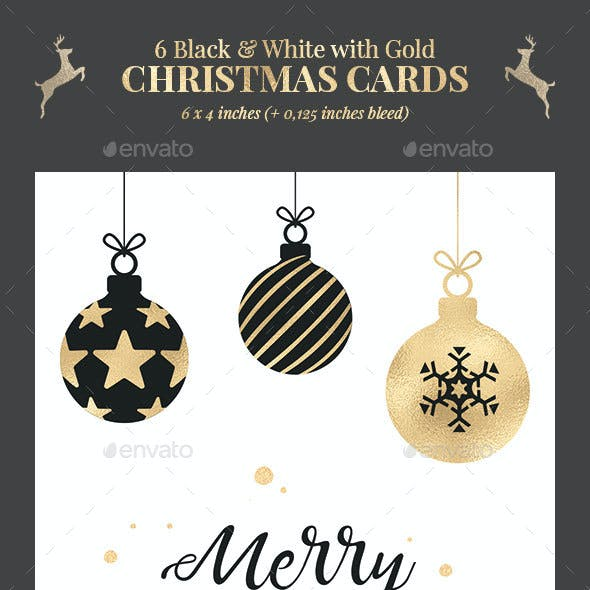 6 Black & White Christmas Cards / Backgrounds PSD