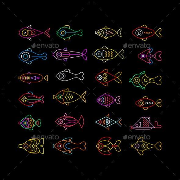 Neon Fish Icon Set