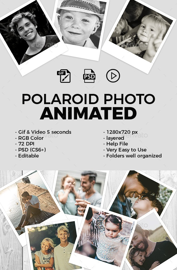 Polaroid Photo Animated - Photo Templates Graphics