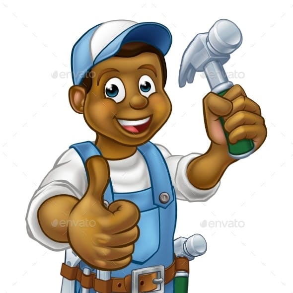Cartoon Black Carpenter Character