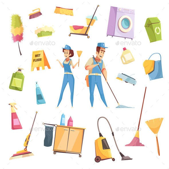 Cleaning Service Icons Set