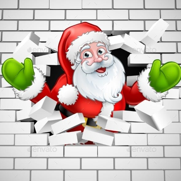 Santa Cartoon Breaking Through a Brick Wall