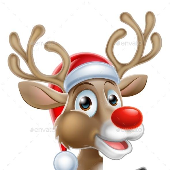 Santa Hat Reindeer Pointing From Behind Sign