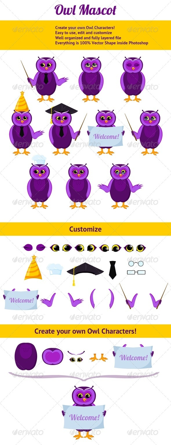 Cute Owl Mascot, Create your own - Characters Illustrations