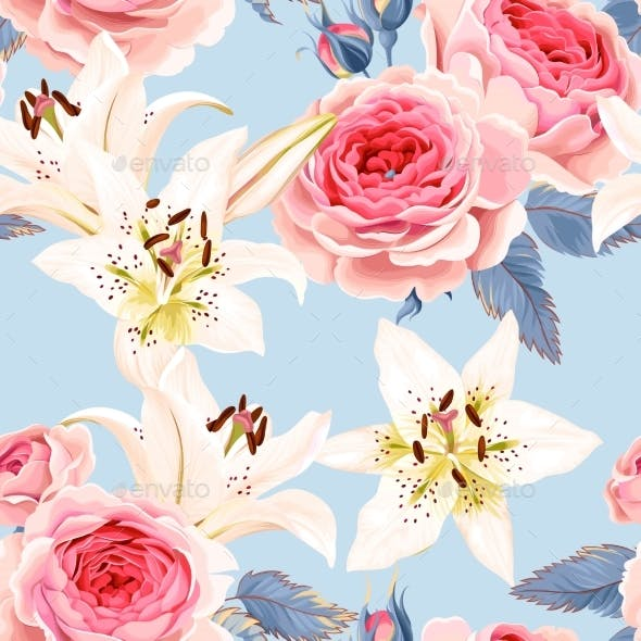 Roses and Lilies Seamless
