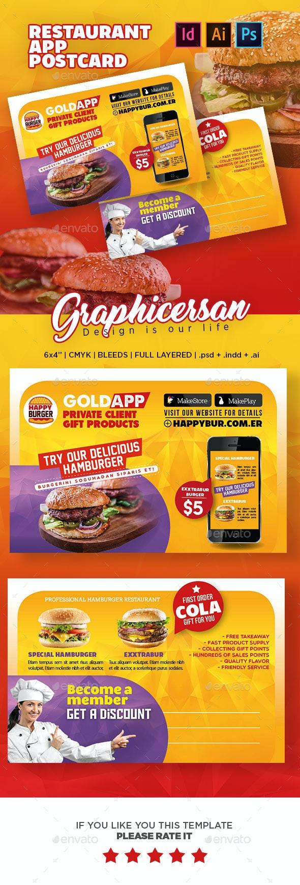 Restaurant App Postcard - Cards & Invites Print Templates