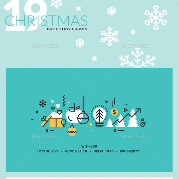 Set of Flat Line Design 2018 Christmas Greeting Cards