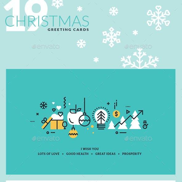 Set of Flat Line Design 2018 Christmas Greeting Cards
