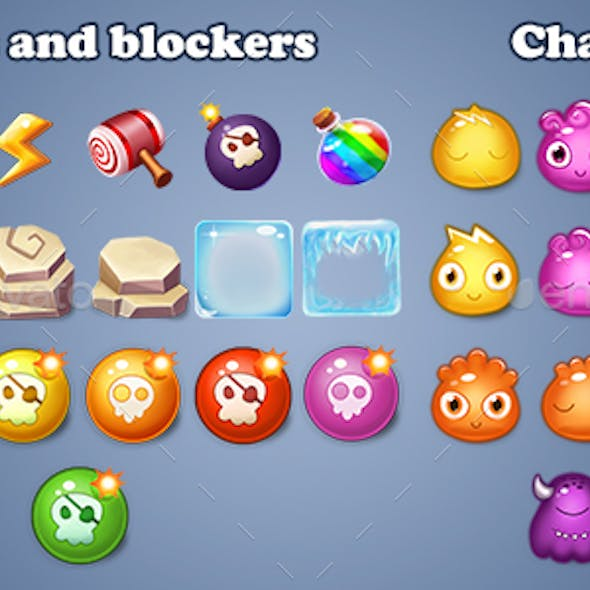 Match 3 - Characters Items Boosts Pack