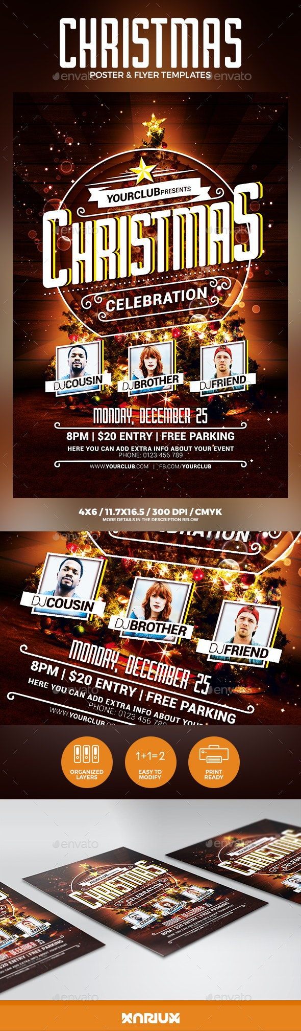 Christmas Party Flyer Poster - Holidays Events