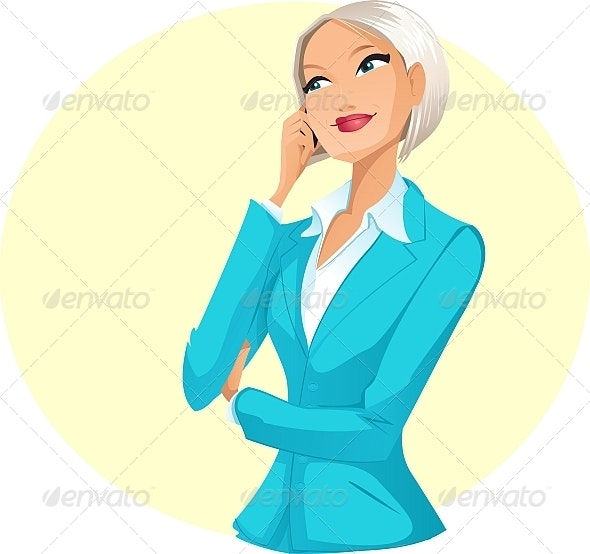Businesswoman talking by mobile - People Characters