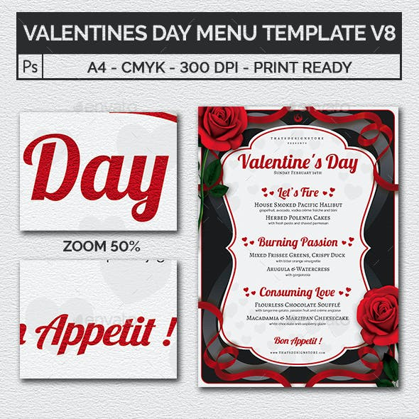 Valentines Day Menu Template V8