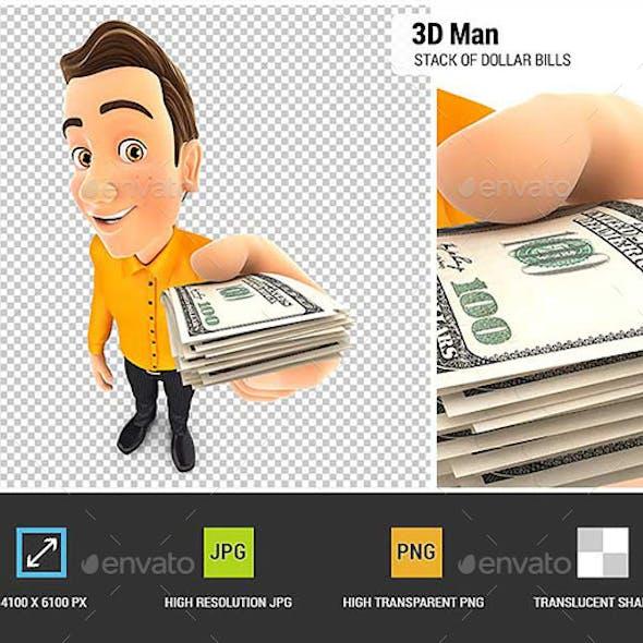 3D Man Holding a Stack of Dollar Bills