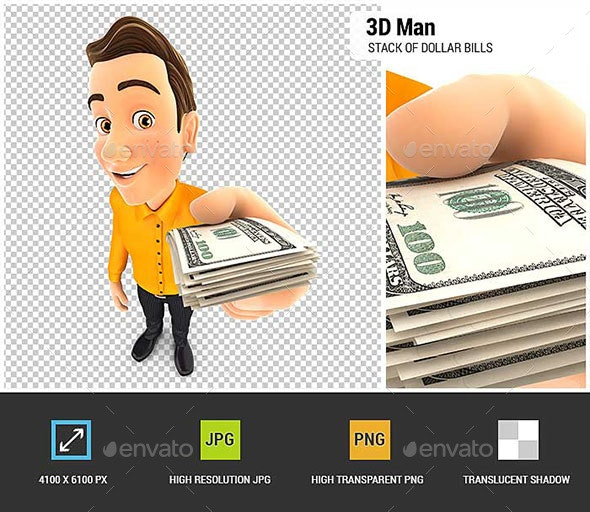 3D Man Holding a Stack of Dollar Bills - Characters 3D Renders