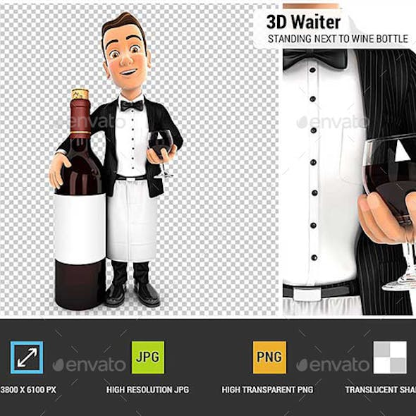 3D Waiter Standing Next to Red Wine Bottle