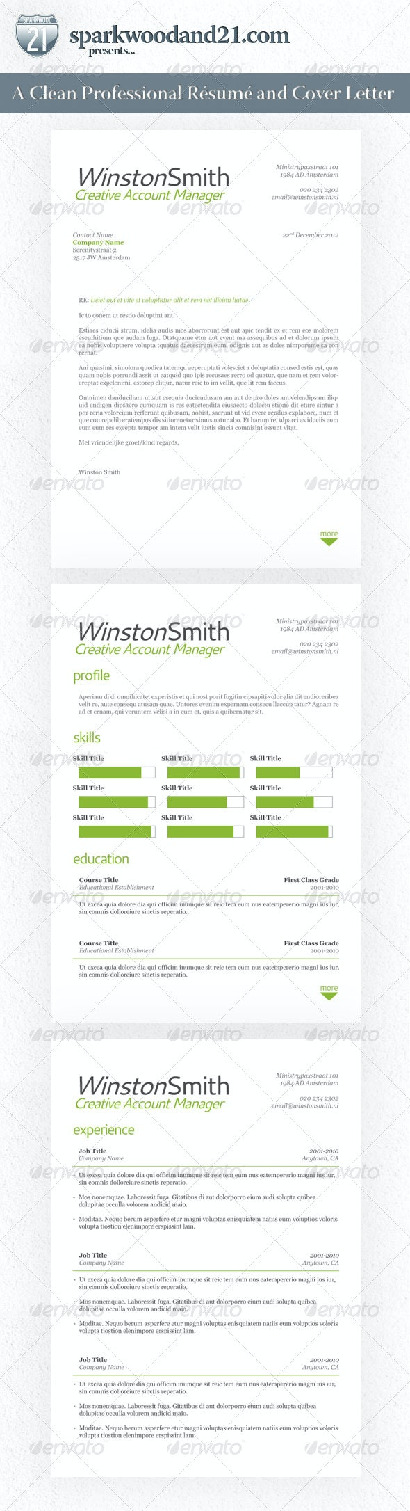 Clean Professional Resume and Cover Letter - Resumes Stationery