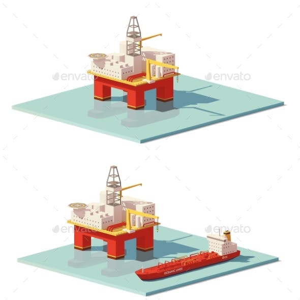 Low Poly Offshore Oil Rig Drilling Platform