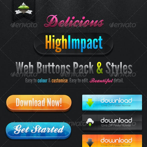 Delicious High Impact Web Buttons Pack & Styles