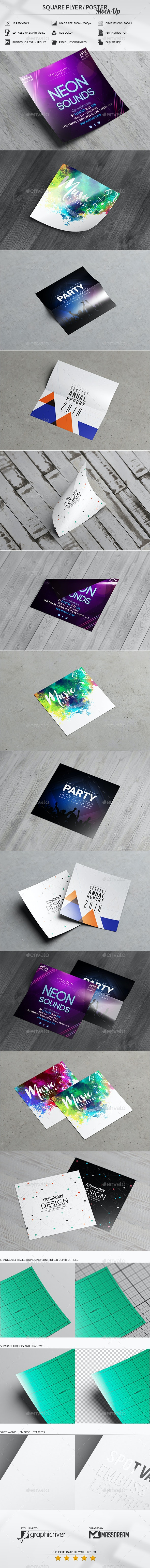 Square Flyer / Poster Mock-Up - Product Mock-Ups Graphics