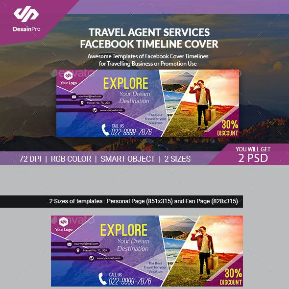 Travel Agent FB Cover Timeline Template - AR