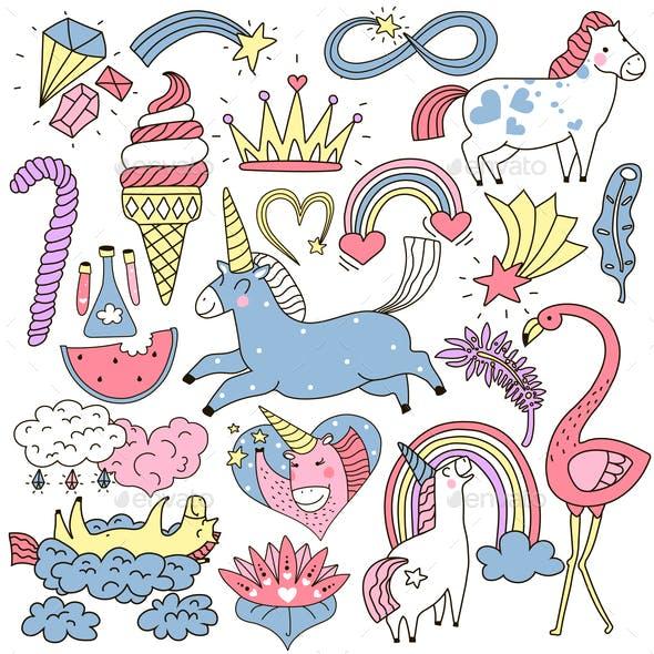 Unicorn Fairy Elements Doodle Set