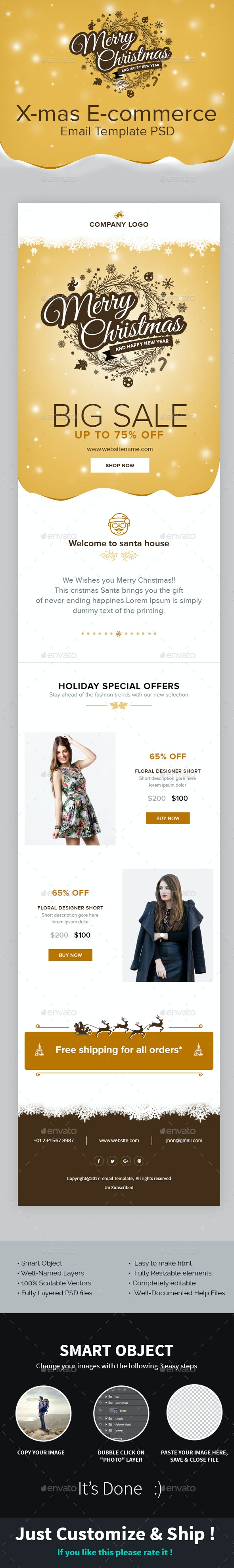 X-mas E-commerce - Christmas Shopping Offer Email Template PSD - E-newsletters Web Elements