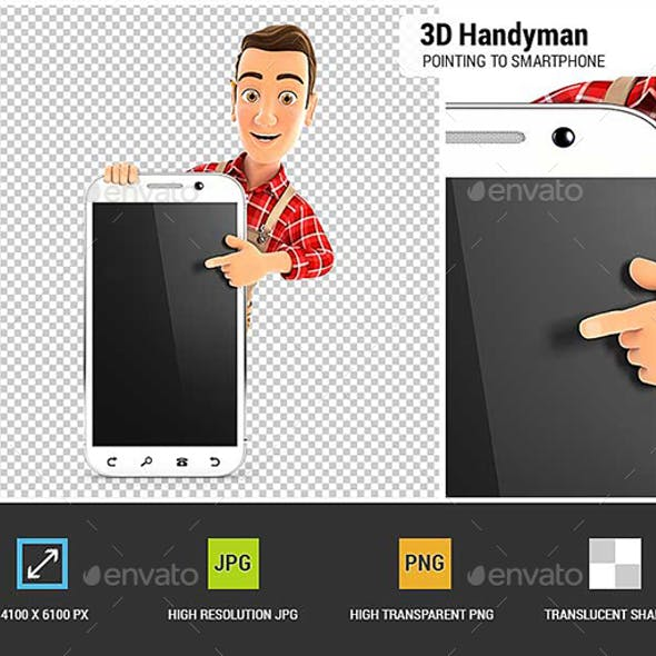 3D Handyman Pointing to Blank Smartphone