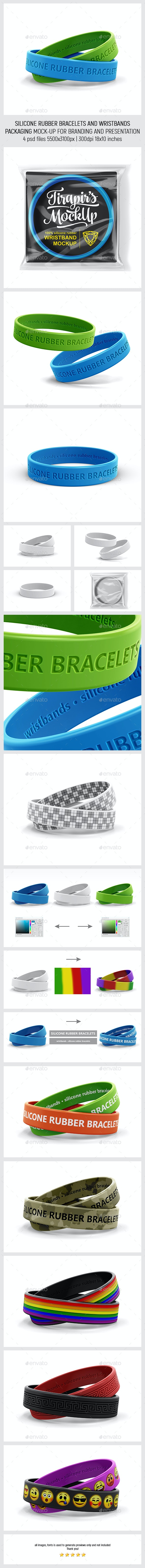 Silicone Rubber Bracelets And Wristbands Packaging MockUp