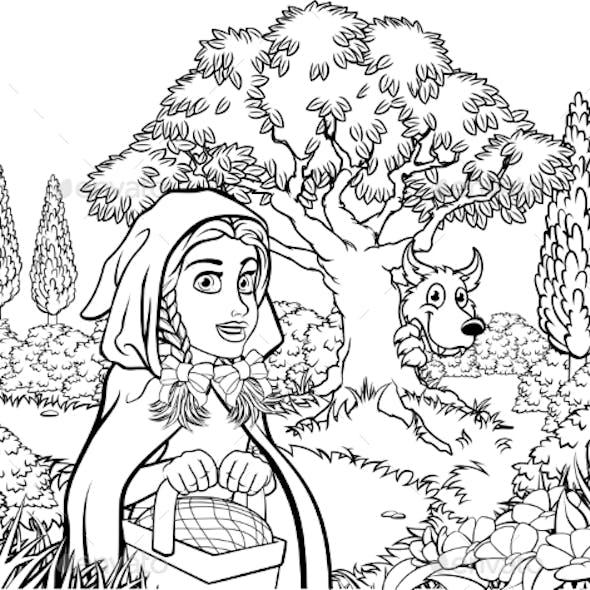 Fairytale Little Red Riding Hood Coloring Scene By Krisdog