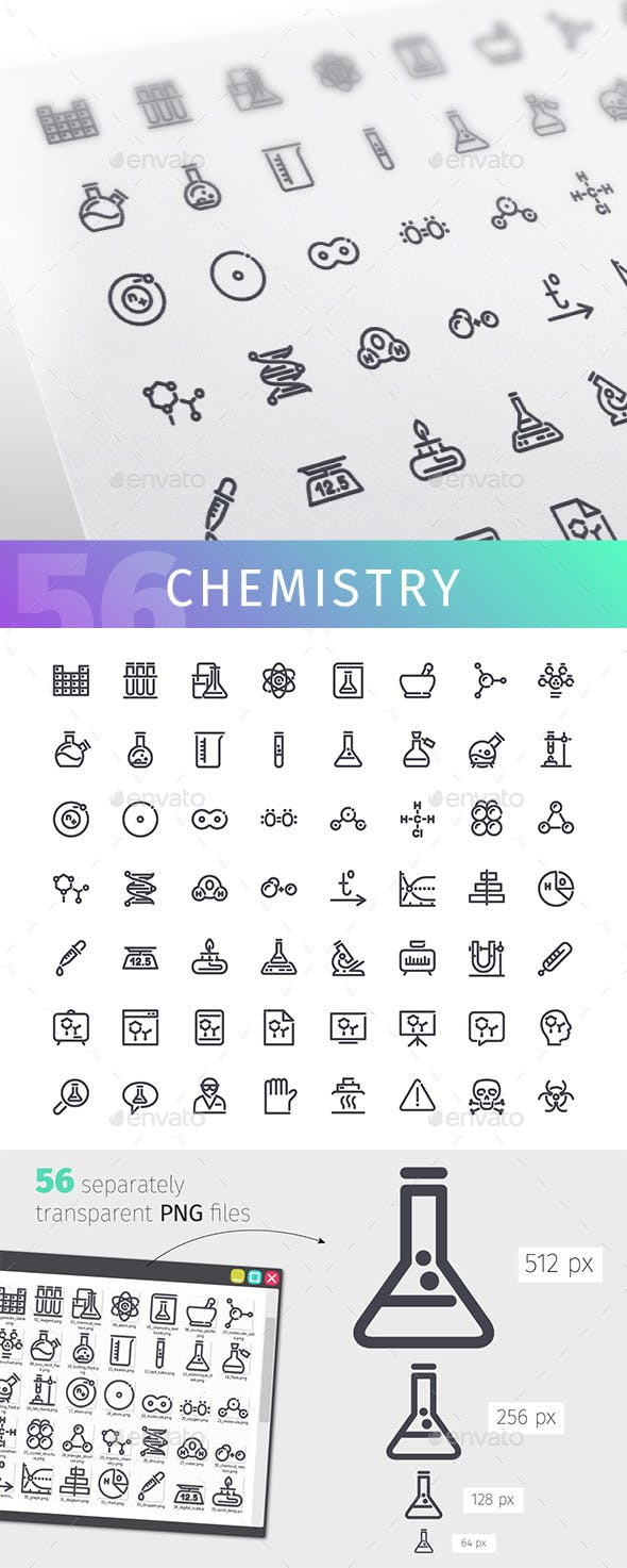 Chemistry Line Icons Set