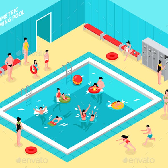 Family Pool Isometric Composition