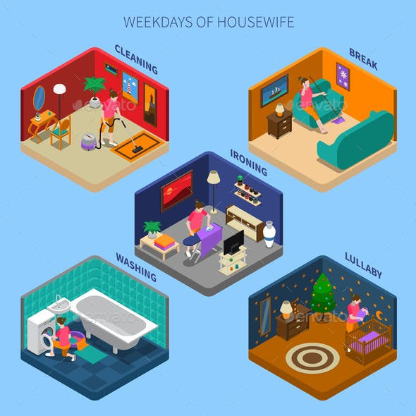 Weekdays Of Housewife Isometric Compositions