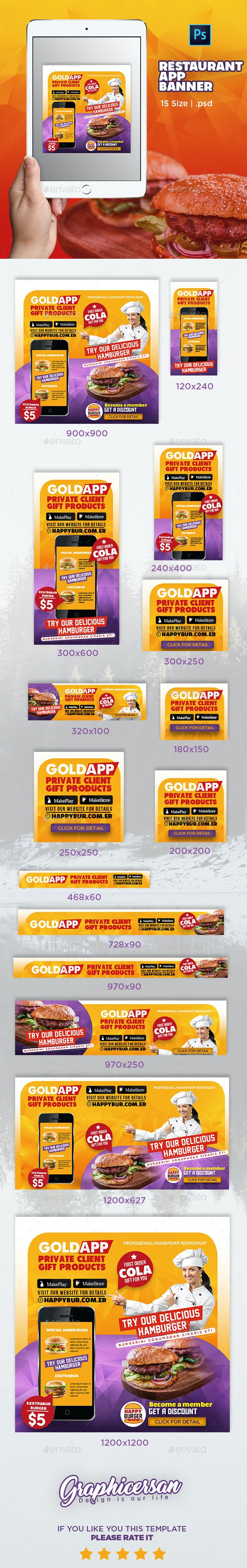 Restaurant App Banner - Banners & Ads Web Elements