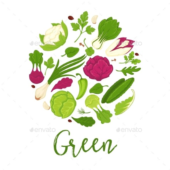 Green Salads Fresh Vegetables and Farm Herbs