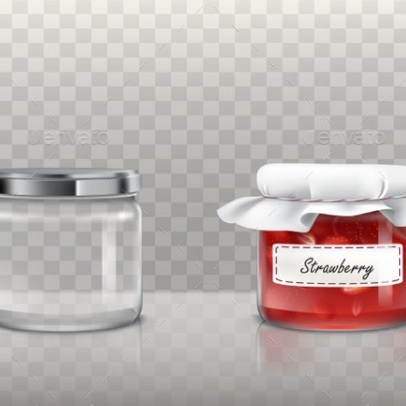 Set of Vector Illustrations of Glass Round Jars