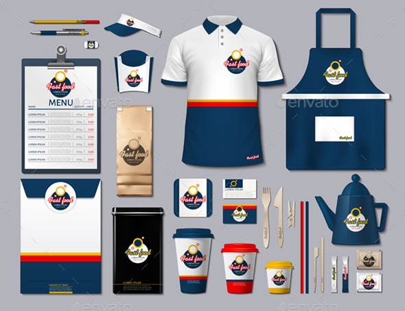 Stationary Fast Food Mockup - Concepts Business