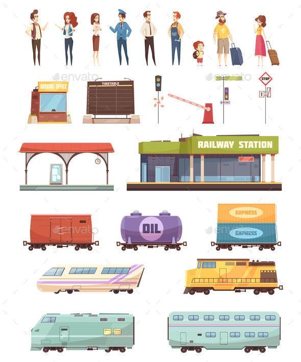Railway Decorative Icons Set - Miscellaneous Vectors